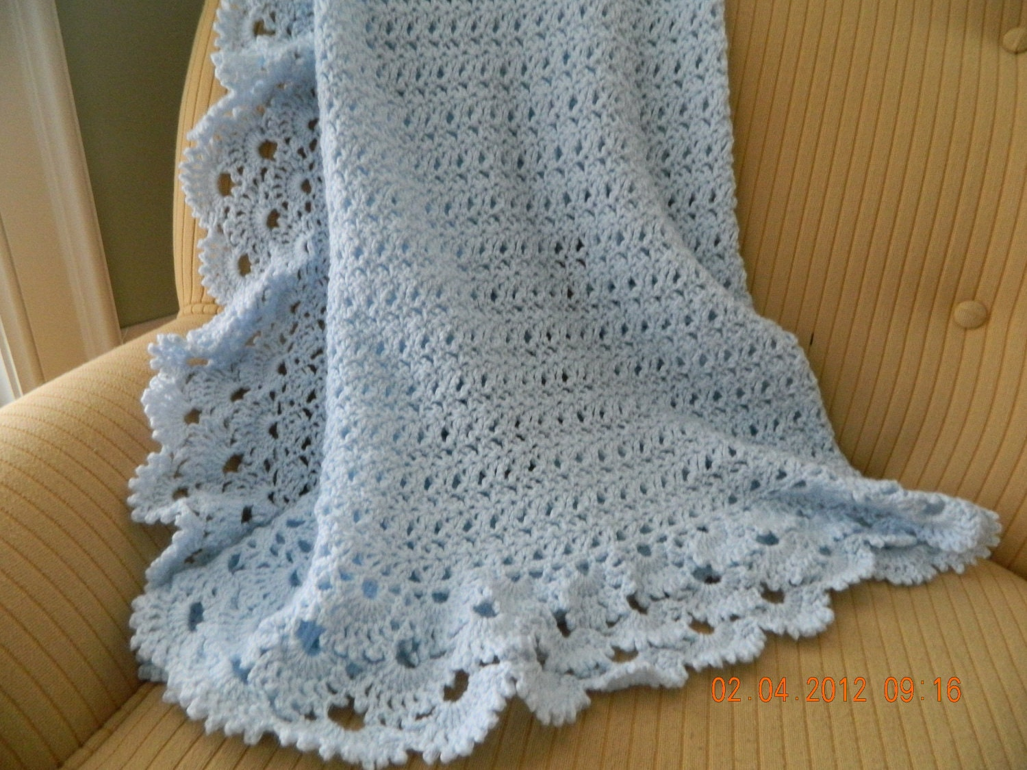 Knit Shell Stitch Baby Blanket : Baby blue crocheted baby blanket shell design gorgeous 3