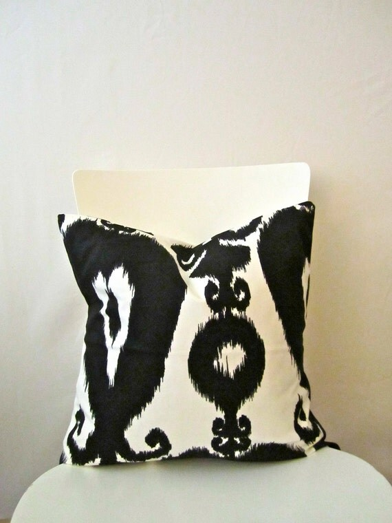 18 inch throw pillow cover Ikat black and by CushionCutDecor
