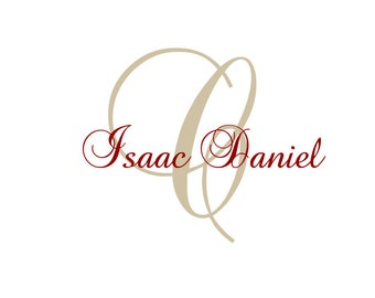 Name and Initial Vinyl Wall Decal Personalized Name Wall Decal Monogram Wall Decal Girl Boy Baby Nursery Script 22H x 36W FS028