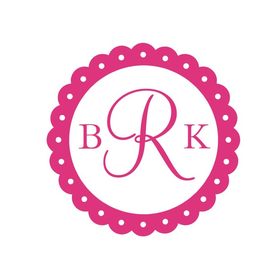 """Personalized Initial Monogram Vinyl Wall Decal Scallop Border Circle Wall Decal Teen Girl Baby Nursery Room 22""""H x 22"""" W"""
