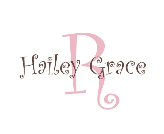 Initial and Name Vinyl Wall Decal Monogram Wall Decals Personalized for Girl Boy Baby Nursery Curly Script 22H x 36W FS024