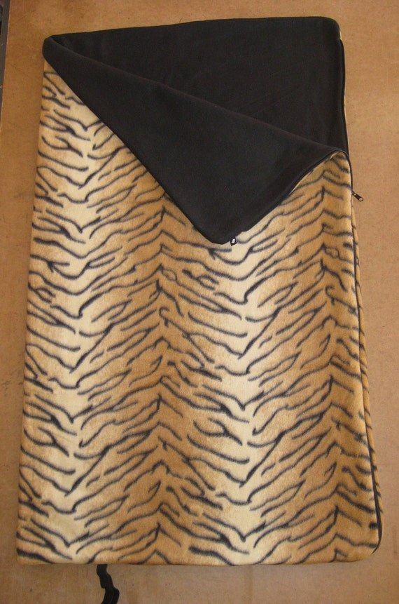 SLEEPING BAG TODDLER Fleece Tiger Print Double Layer