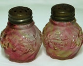 Price Reduced: Vintage NORTHWOOD CRANBERRY/Yellow Satin CRAQUELLE, Antique and Very Rare Royal Ivy Salt & Pepper Shakers -