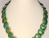 Mosaic Turquoise Necklace with Round Overlap Beads