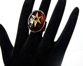 Red Garnet Star-Mystical- Vintage- Glass Ring -adjustable size