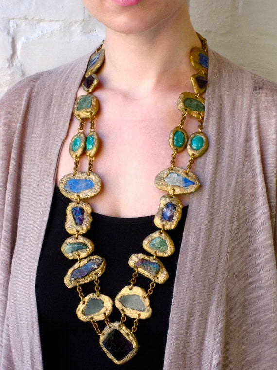 STATEMENT NECKLACE-SemiPrecious Minerals and Stones multi color Necklace-Wearable Art by Pauletta Brooks