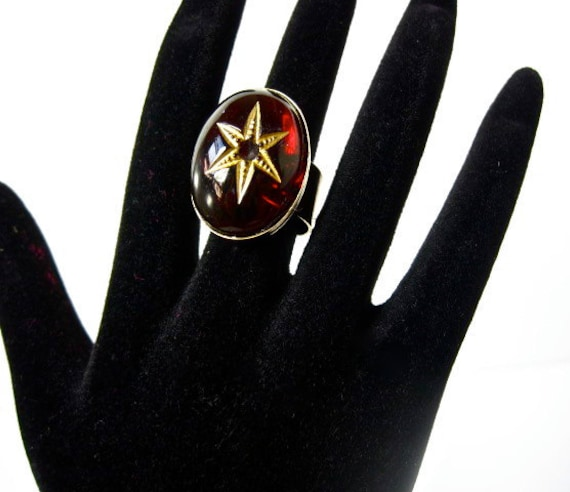 Red Garnet Star-Mystical- Vintage- Glass Ring by Pauletta Brooks