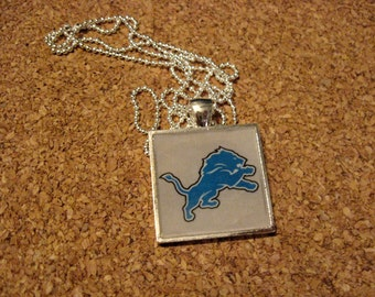 Lions Square Resin Pendant, Football Jewelry