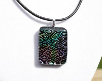 Multi-Color Dichroic Fused Glass Pendant. Fused Glass Jewelry