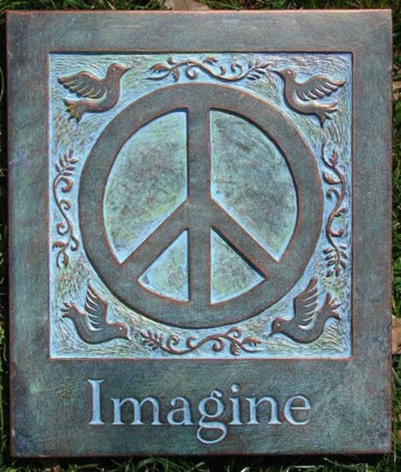 Imagine Peace Concrete Garden Plaque