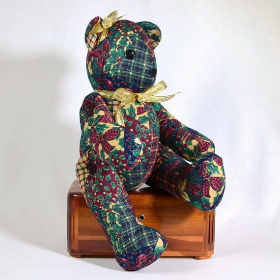 Christmas Fabric Teddy Bear with Button Joints Handmade