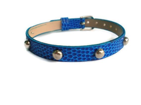 Studded Royal Blue Bracelet - Faux Leather Studded Blue Buckle Bracelet - Layering Bracelet