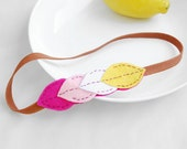 Geometric color block headband - Felt  leaves headband in pink, baby pink, white and yellow