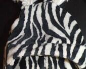 Zebra Winter Hat with Ears, Soft Minky Furry
