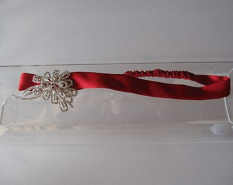 """New """"Winter Crystal"""" Collection...Red Satin Elastic Headband with Crystal Flower, for weddings, parties, Holiday, festive"""