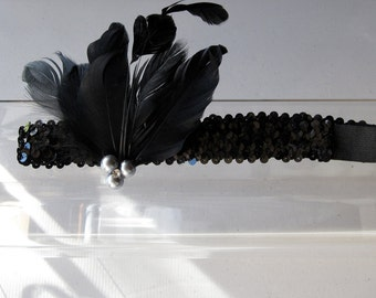 Black Feather with Pearls and Crystal Black Sequin Stretch Headband, for weddings, parties, holiday, evening, night out, festive occasions