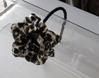 Leopard Flower with Black Beaded Trim Headband, for weddings, parties, evening, night out