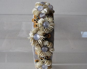 Ivory Sequin Beaded Flower Headband, for weddings, parties, special occasions
