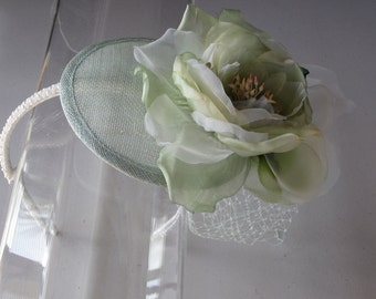 Pale Green Silk Flower Sinamay Fascinator Hat, with Veil and Pearl Beaded Band, for weddings, bridesmaid, parties, special occasions