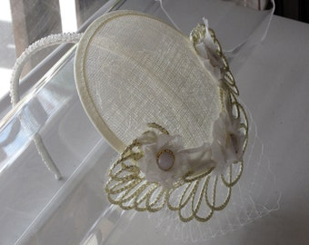 Ivory and Gold Flower Sinamay Fascinator Hat with Veil and Pearl Beaded Headband, for weddings, parties, special occasions