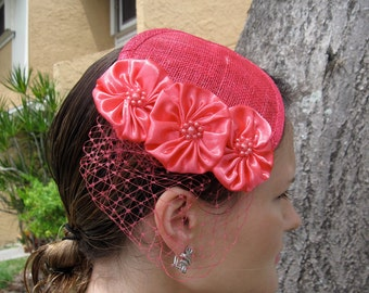 Fuschia Pink Flower Sinamay Fascinator Hat with Veil and Black Beaded Band, for weddings, parties, special occasions