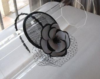 Black and White Silk Flower Sinamay Fascinator Hat with Veil and Beaded Headband, for weddings, parties, special occasions