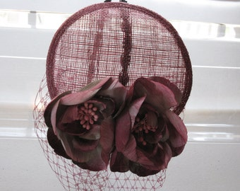 Mauve Pink Flower Sinamay Fascinator Hat with Veil and Black Beaded Headband, for weddings, bridesmaid, parties