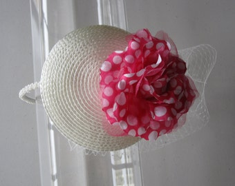 Pink Polka Dot Flower White Straw Fascinator Hat with Veil and Beaded Headband, for weddings, parties, special occasions