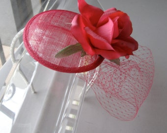 Coral Pink Flower Sinamay Fascinator Hat with Veil and Pearl Beaded Headband, for weddings, bridesmaid, parties, special occasions