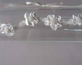 Ivory Satin Flower Pearl Halo Headband with Ivory Satin Ribbon Ties, for weddings, Bridal, parties, special occasions