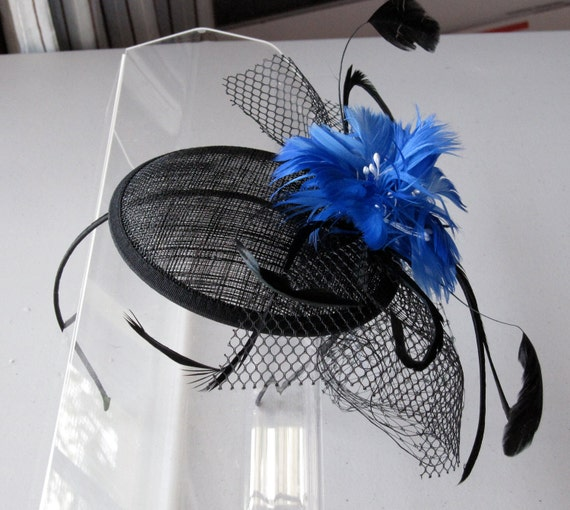 Black Flower Fascinator Hat: Royal Blue Feather Flower Black Sinamay Fascinator Hat With