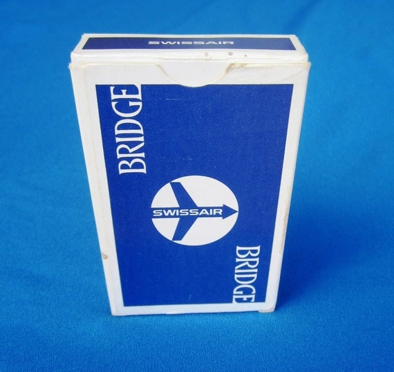 Vintage Swiss Air Playing Cards  Sealed  - Airline of Switzerland GOLD CORNERS