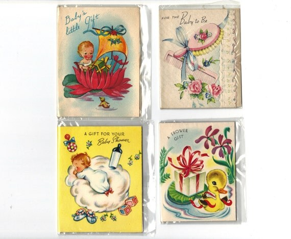 1940s Baby Shower Gift cards - set of 4