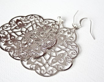 Silver Colored Lace Dangle Earrings