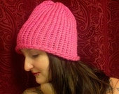 I Love Bubble Gum Pink Knitted Hat Beanie Brimless