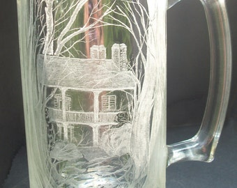 Engraved glass mug, Historic home Summerset Hand engraved one of a kind art rustic charm free shipping