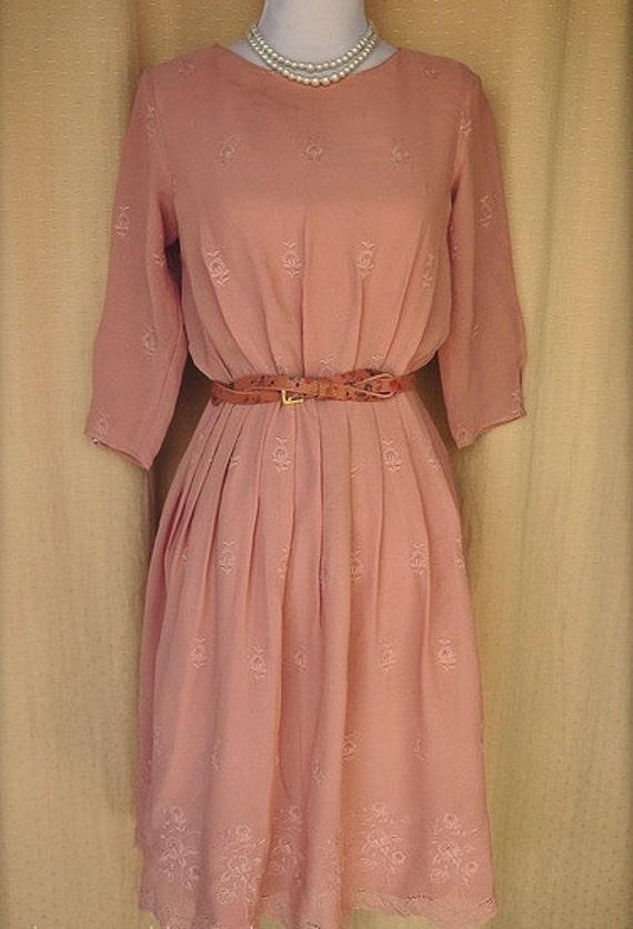Dress - Salmon Pink 'Pastel Elegance' medium - large