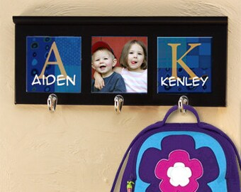 Wall Hanger with Hooks for Hats, Bags, and Jackets : Personalize with Names, Photos, or Sayings