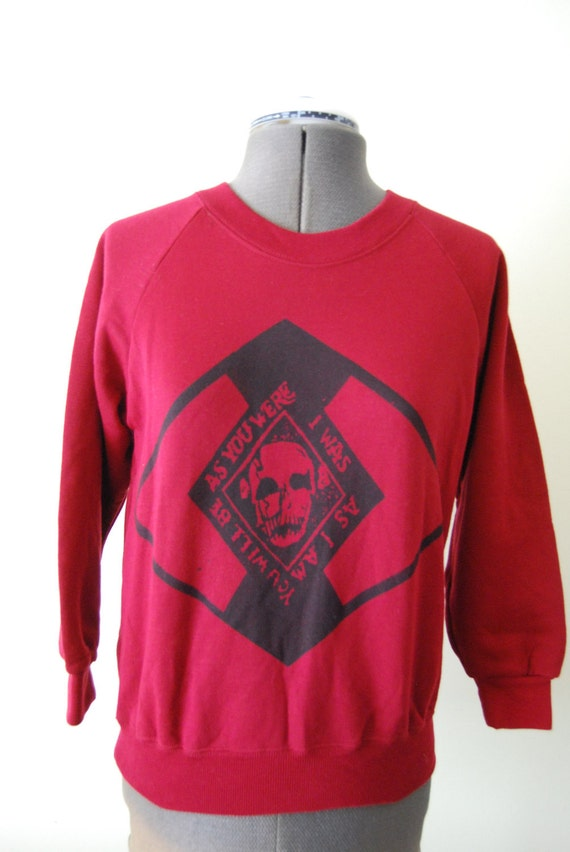 Anarchist Punk Gang- Skull - As You Were -  Seditionaries Screenprinted Sweater - XS Jumper - Maroon Red - Jumper - Small