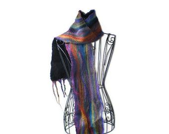Nuno Felted Scarf Australian Merino Wool Rainbow Candy Felt Scarf 2 OOAK