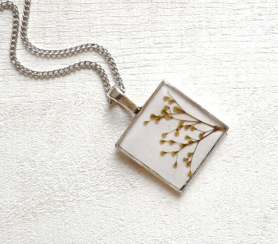 Pressed Flowers Necklace -  preserved nature - handmade flower jewelry