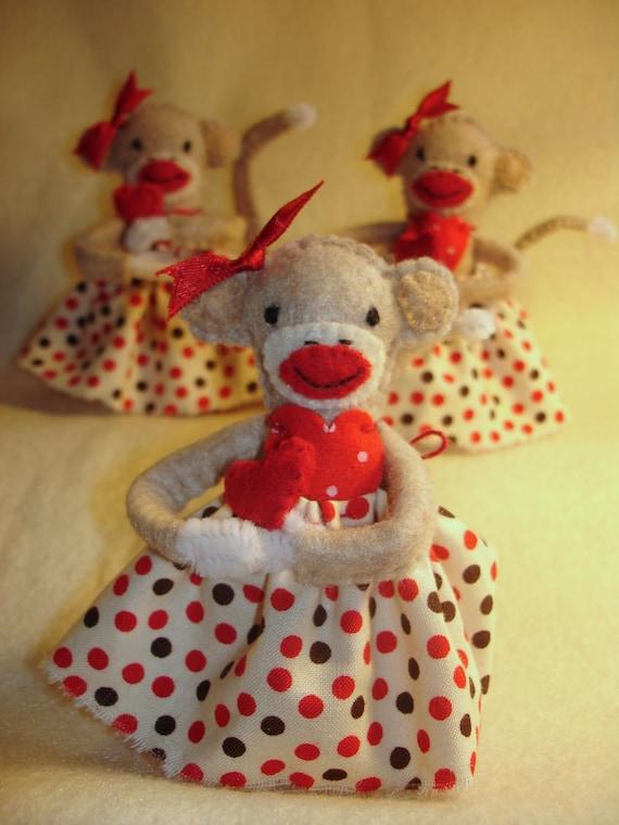 "4 1/4"" All Hand-stitched Valentine's Day Felt Sock Monkey Doll"