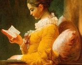 Young Woman Against Plump Pillows Reading print.  Old Master Collection