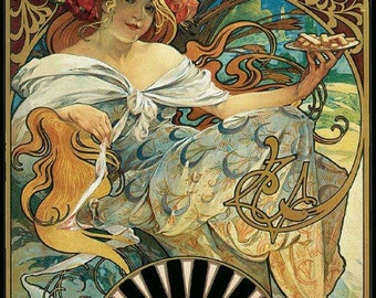 Home Decor Art Print of ART NOUVEAU from Alphonse Mucha.  Biscuit Ad.