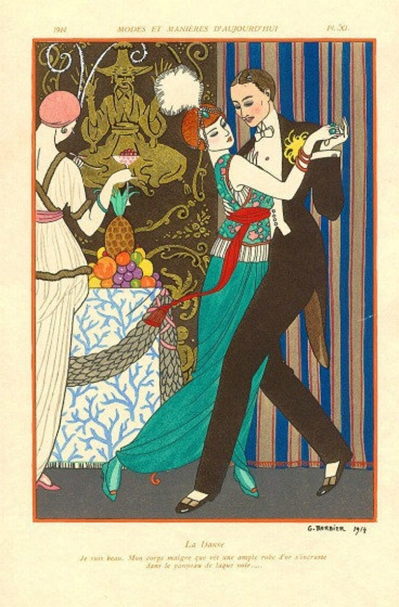 ART DECO Print of Couple Dancing by Barbier 1914