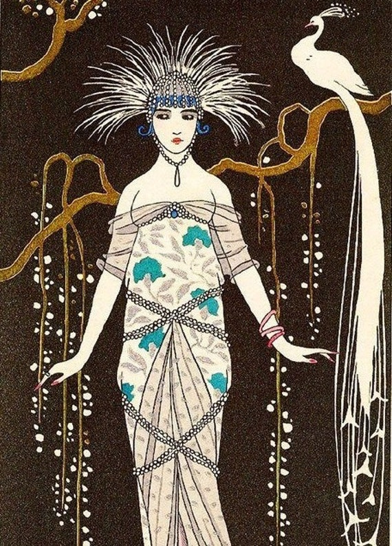ART DECO Woman Print with Feathers Hair and White Peacock by Barbier
