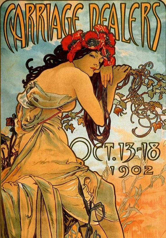 Print of ART NOUVEAU Ad for Carriage Dealers for Philadelphia Exposition 1902---Alphonse Mucha --Featured in 10 Treasury Lists