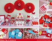 VALENTINES Printable Set - Includes Cupcake Toppers, Favor Tags, Candy Wrappers, Party Sign and more