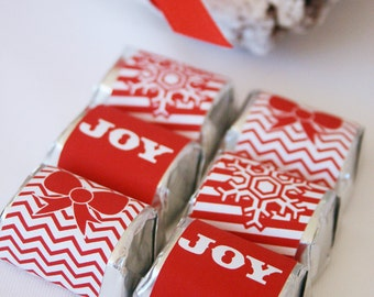 CHRISTMAS Printable Candy Bar Wrappers and Straw Flags - Let it Snow Design