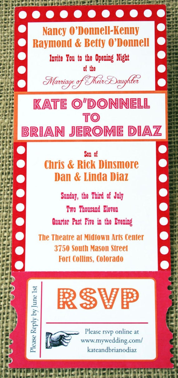 Items similar to Theater Ticket Invitation, Tear Away, Movie ...